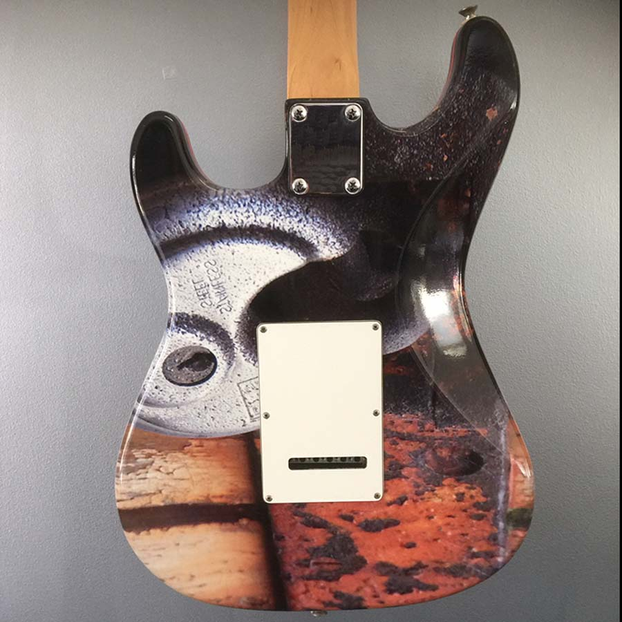 Stratocaster guitar wrapping achterkant